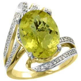 Natural 5.76 ctw lemon-quartz & Diamond Engagement Ring
