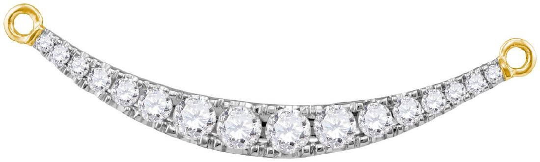 1 CTW Natural Diamond Curved Bar Pendant 10K Yellow