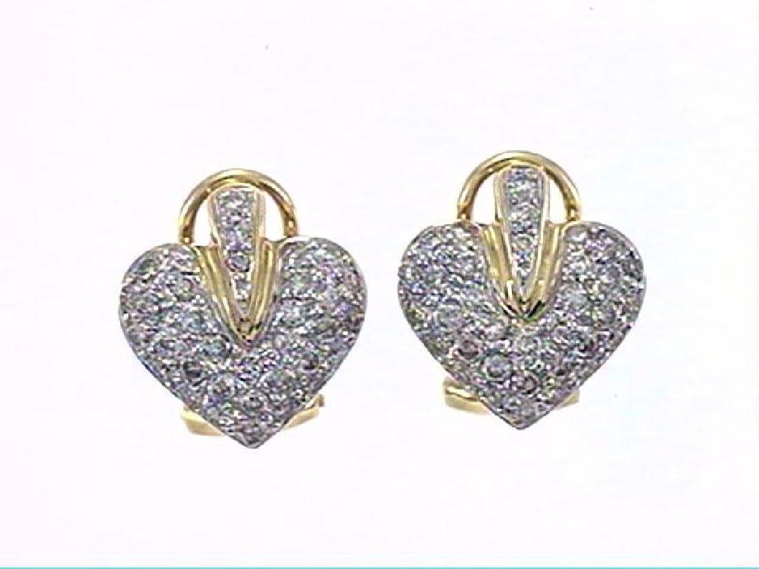 18K Yellow Gold 0.96CTW Diamond Earring - REF-123Y2X