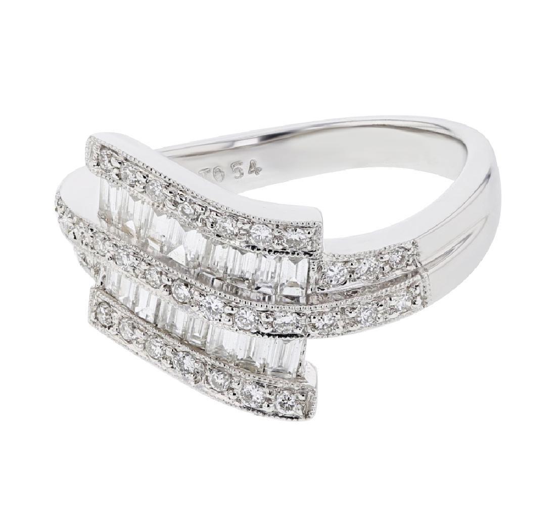 18K WhiteGold 0.8CTW Baguette Fashion Ring - REF-120X3Y