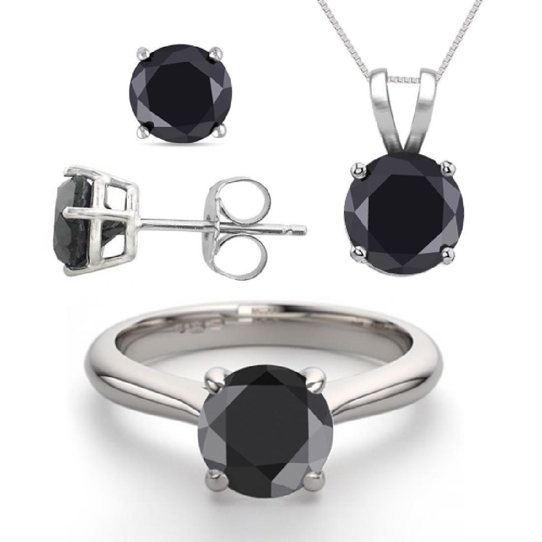 14K White Gold Jewelry SET 3.20CTW Black Diamond Ring,