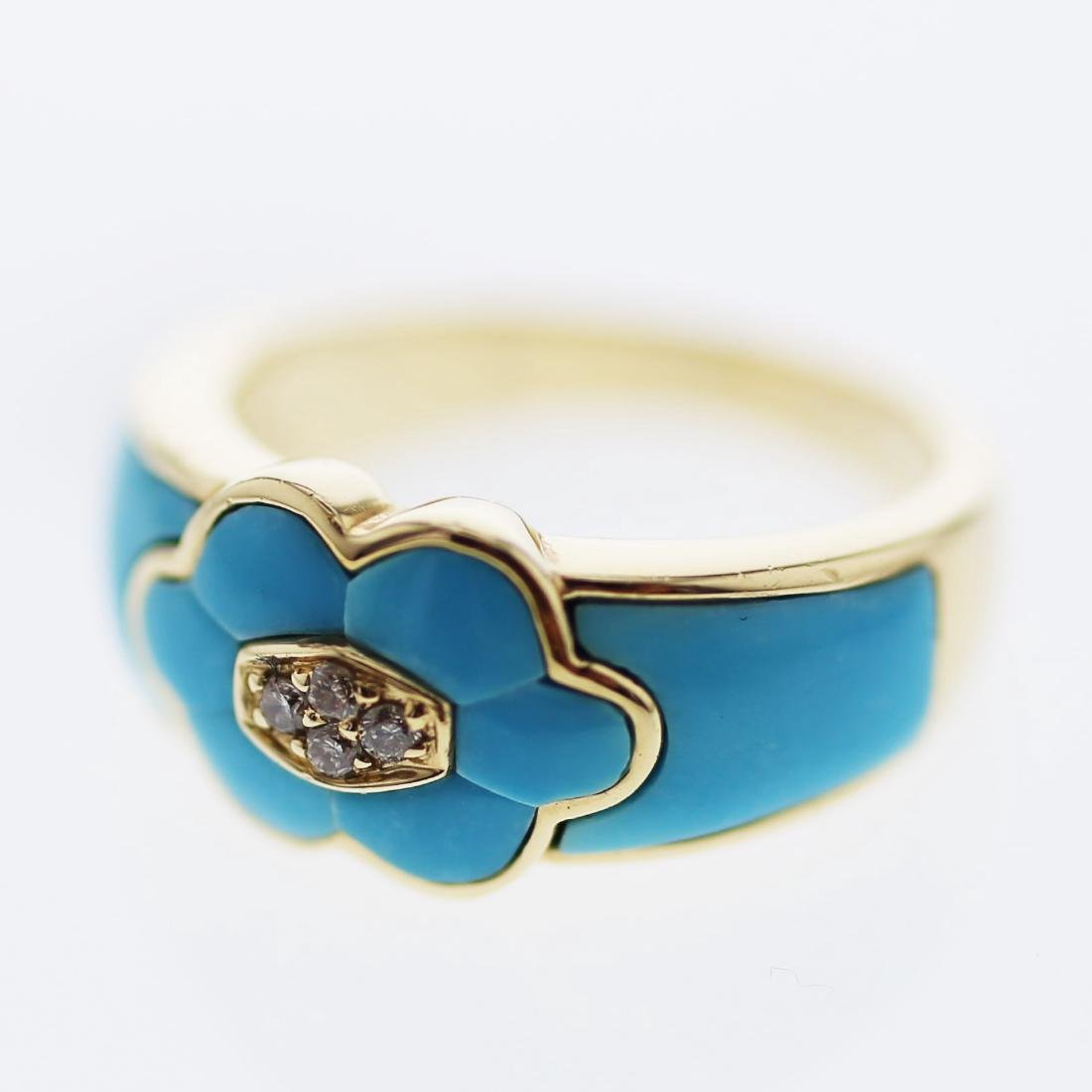 Inlay Turquoise Diamond Ring in 14K Yellow Gold -