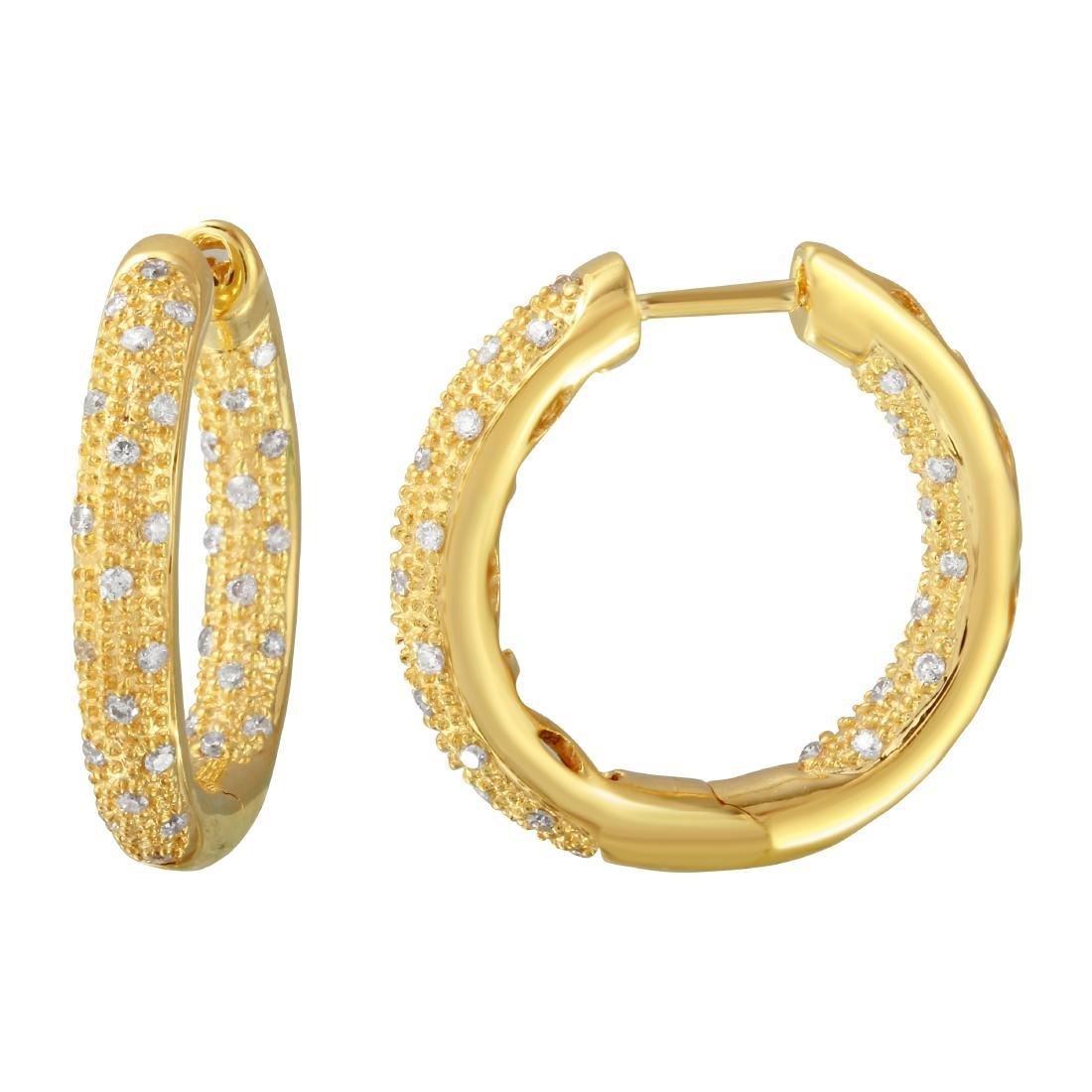 Genuine 0.46 TCW 14K Yellow Gold Ladies Earring -