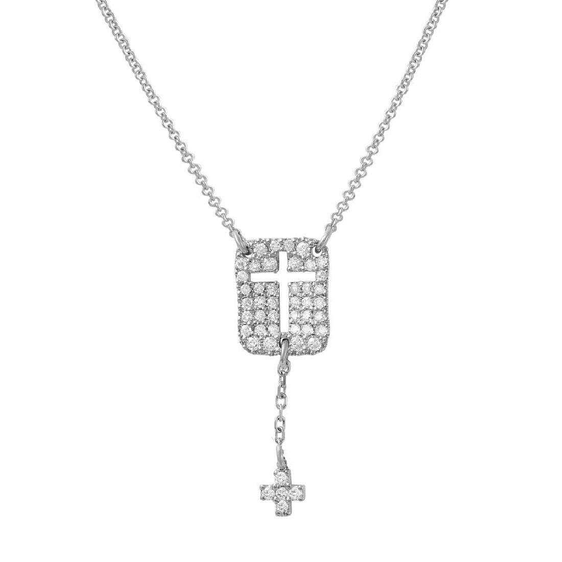 0.28 CTW 18K White Gold Ladies Necklace - REF-58H3W
