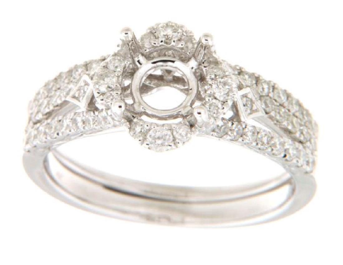 14K White Gold 0.76CTW Diamond Wedding Ring Set -