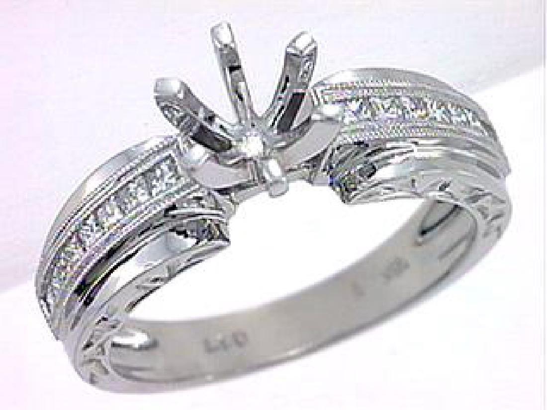 18K White Gold 0.78CTW Diamond Wedding Ring Set -