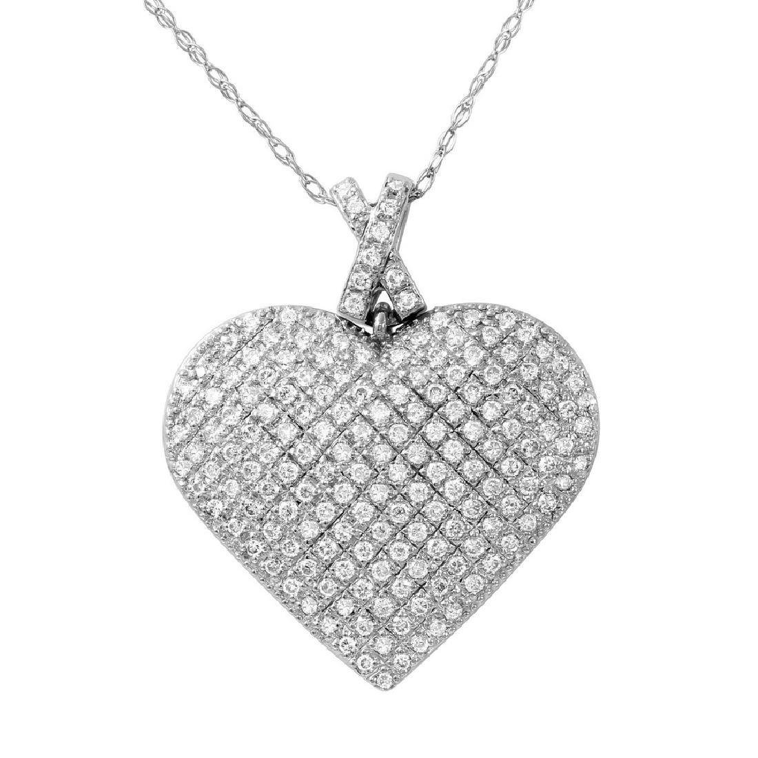 14K White Gold 1CTW Ladies Diamond Pendant - REF-137X3Y