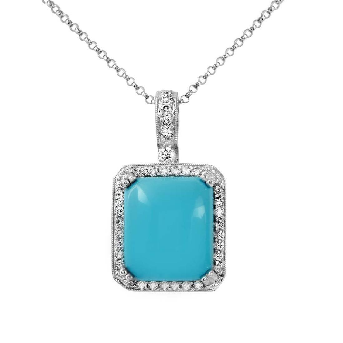 Genuine 0.49 TCW 14K White Gold Ladies Necklace -
