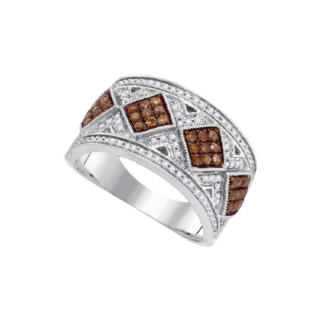 0.65 CTW Cognac-brown Colored Diamond Band 10K White