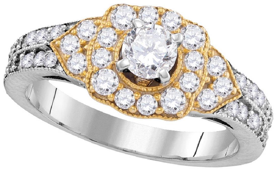 1 CTW Natural Diamond Bridal Engagement Ring 14K White