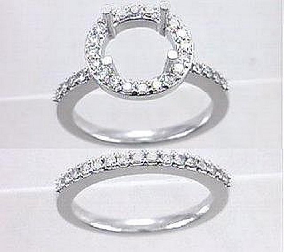 14K White Gold 0.75CTW Diamond Wedding Ring Set -