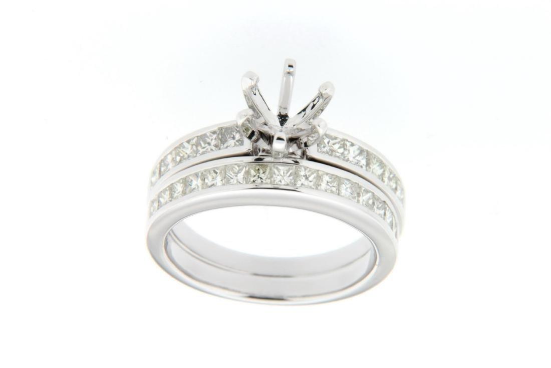 14K White Gold 1.58CTW Diamond Wedding Ring Set -