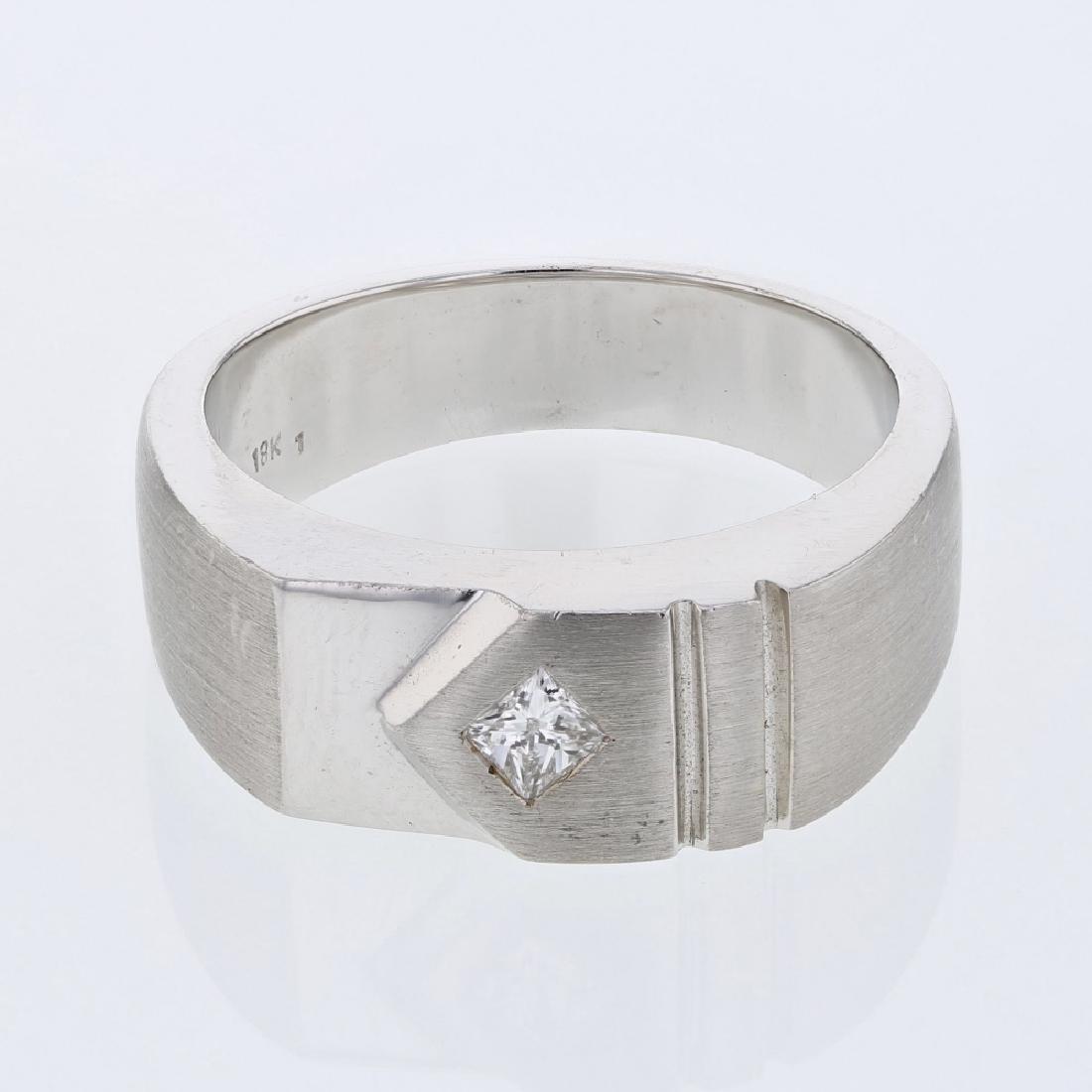 Flush-set Princess-cut Diamond Gents Ring in 18K White