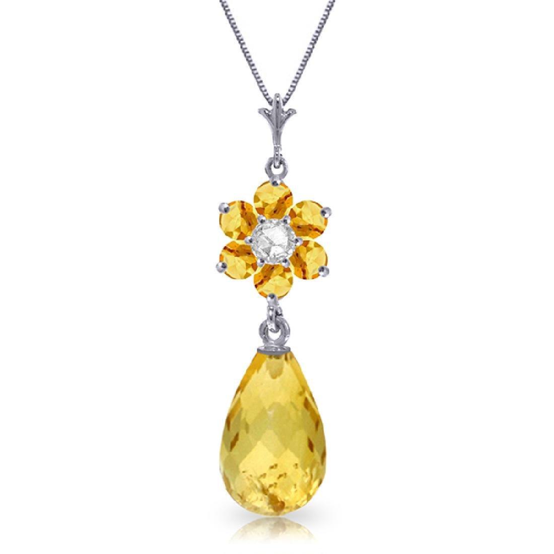 Genuine 2.78 ctw Citrine & Diamond Necklace Jewelry