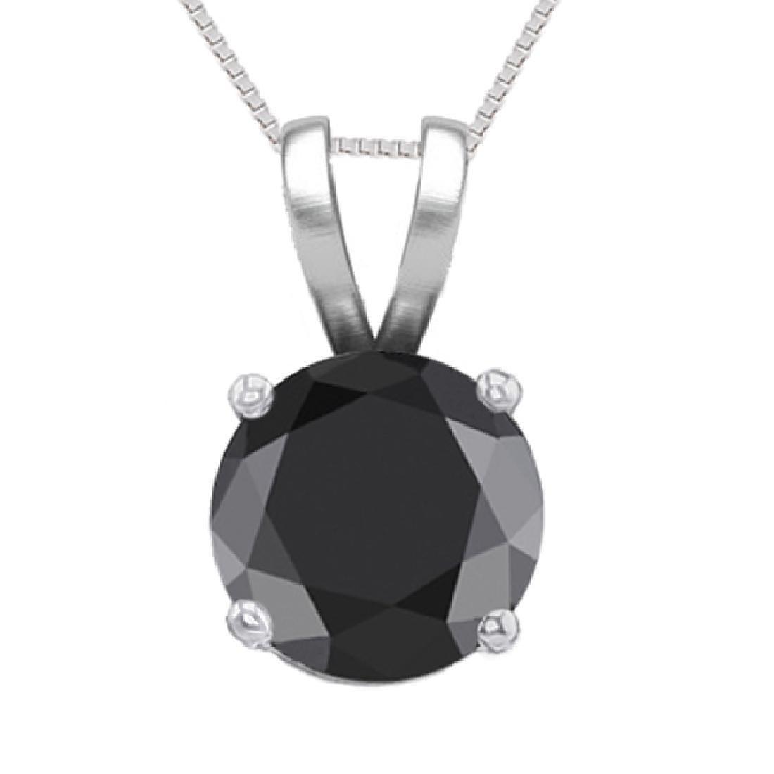 14K White Gold Jewelry 1.02 ct Black Diamond Solitaire