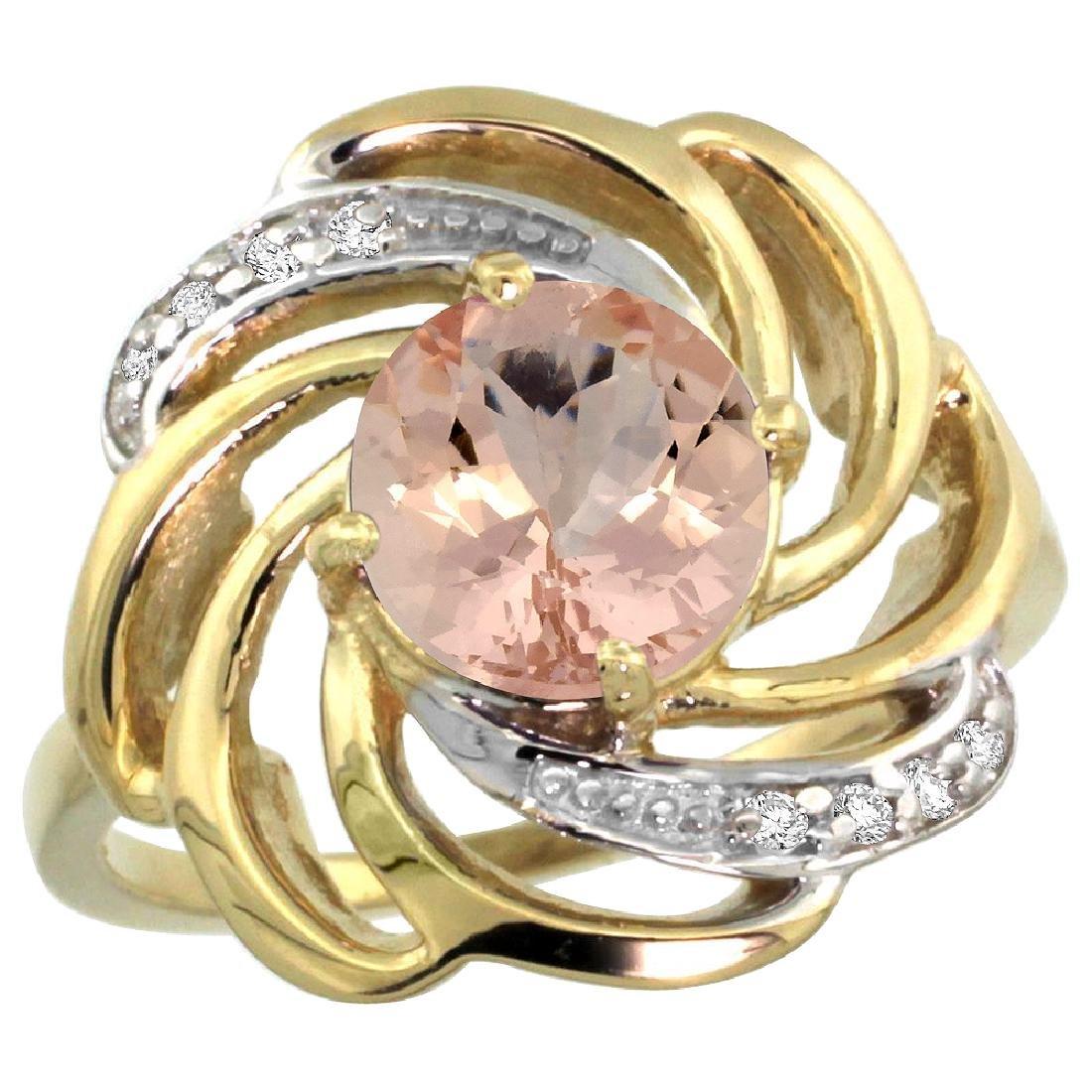 Natural 1.75 ctw morganite & Diamond Engagement Ring