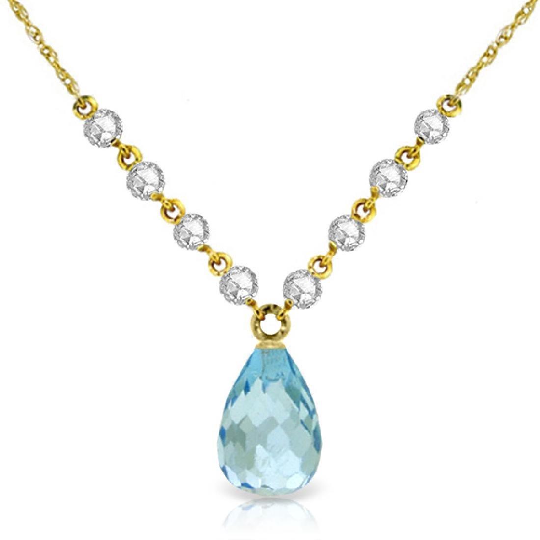 Genuine 11.30 ctw Blue Topaz & Diamond Necklace Jewelry