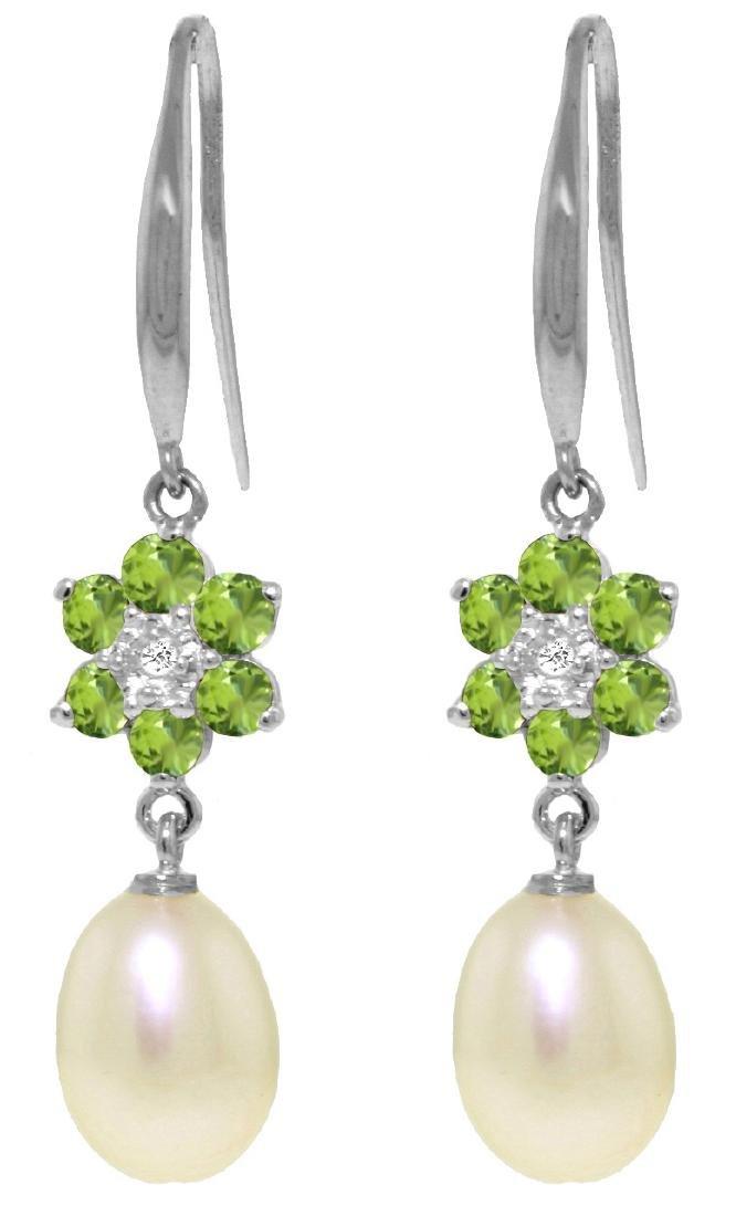 Genuine 9.01 ctw Peridot, Pearl & Diamond Earrings