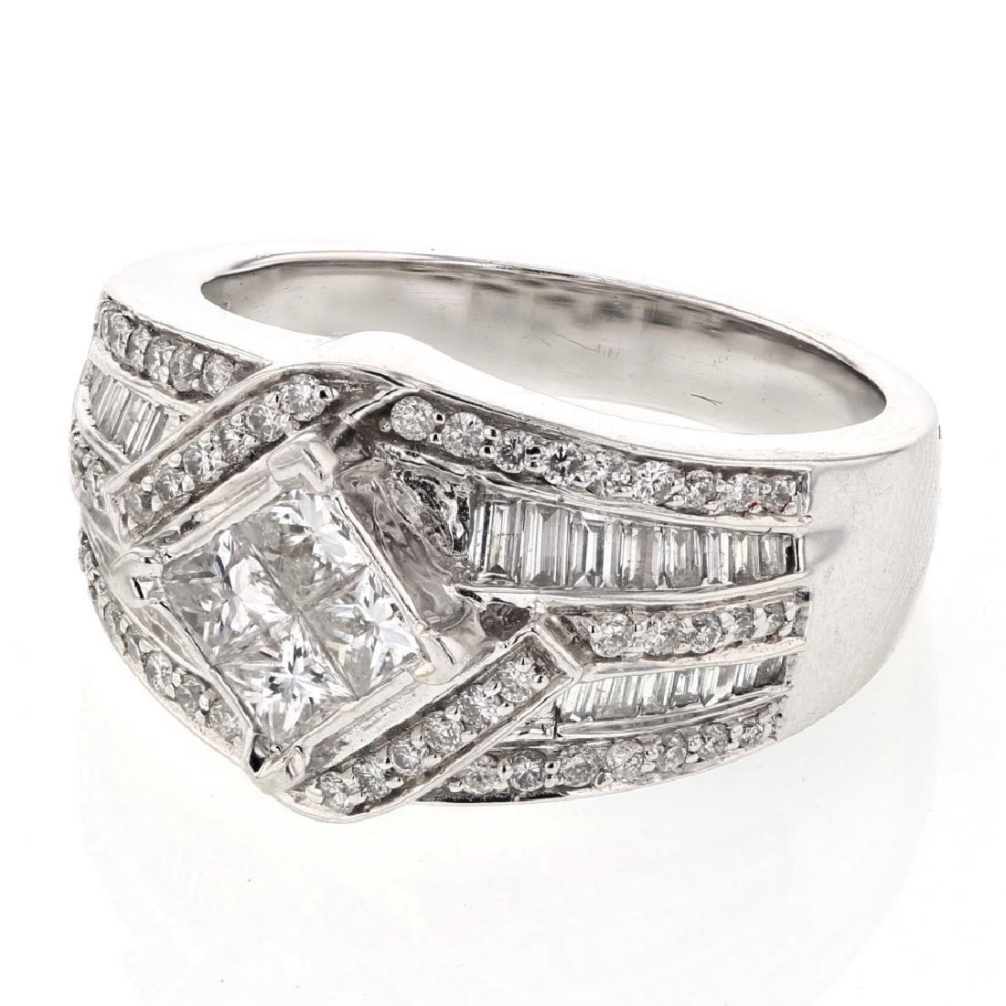 Cocktail Diamond Ring with Milgrain in 14K White Gold -