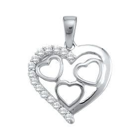 0.18 Ctw Natural Diamond Heart Love Valentines Pendant