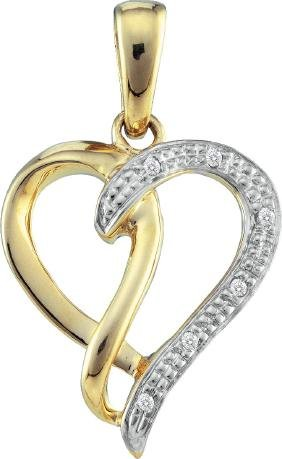 0.03 Ctw Natural Diamond-accented Heart Love