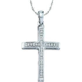 0.08 CTW Natural Diamond Cross Faith Pendant 10K White