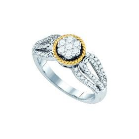 0.6 CTW Natural Diamond Roped Cluster Ring 10K