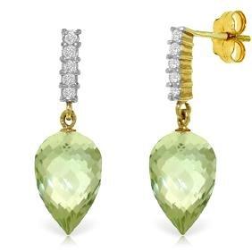 Genuine 19.15 ctw Green Amethyst & Diamond Earrings