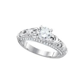 1 CTW Natural Diamond Solitaire Bridal Engagement Ring