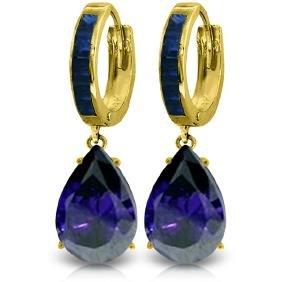 Genuine 10.60 ctw Sapphire Earrings Jewelry 14KT Yellow