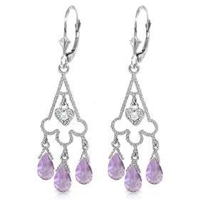 Genuine 4.83 ctw Amethyst & Diamond Earrings Jewelry