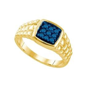 0.25 CTW Mens Masculine Blue-colored Natural Diamond