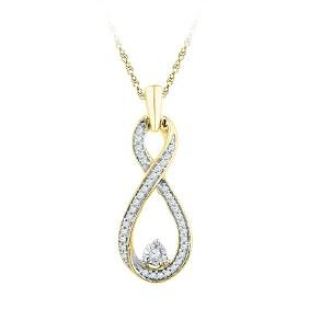 0.16 CTW Natural Diamond Infinity Pendant 10K Yellow