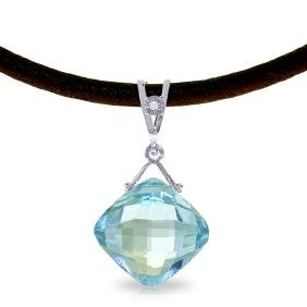 Genuine 8.76 ctw Blue Topaz & Diamond Necklace Jewelry