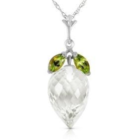Genuine 12.75 ctw White Topaz & Peridot Necklace