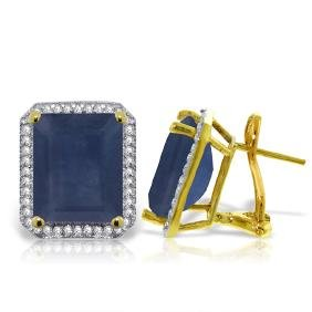 Genuine 13.2 ctw Sapphire & Diamond Earrings Jewelry