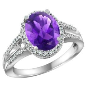 Natural 2.72 ctw amethyst & Diamond Engagement Ring 14K