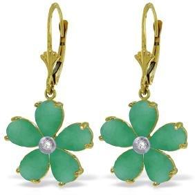 Genuine 4.43 ctw Emerald & Diamond Earrings Jewelry