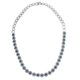 8.02 CTW Sapphire Tennis  Necklace in 14K White Gold