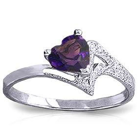Genuine 0.75 ctw Amethyst Ring Jewelry 14KT White Gold