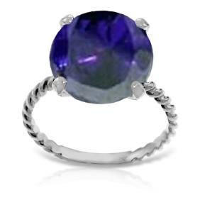 Genuine 9.8 ctw Sapphire Ring Jewelry 14KT White Gold -
