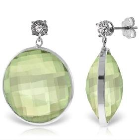 Genuine 36.06 ctw Green Amethyst & Diamond Earrings