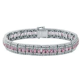 15.82 CTW Sapphire Straight  Bracelet in 14K White Gold