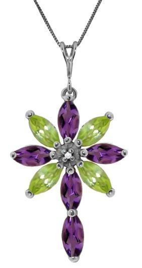 Genuine 2.0 ctw Amethyst, Peridot & Diamond Necklace