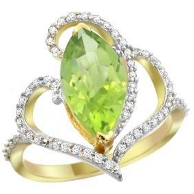 Natural 3.07 ctw Peridot & Diamond Engagement Ring 14K