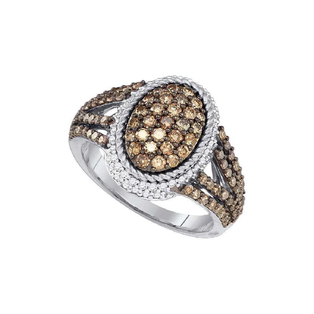 1.20 CTW Cognac-brown Colored Diamond Oval Cluster