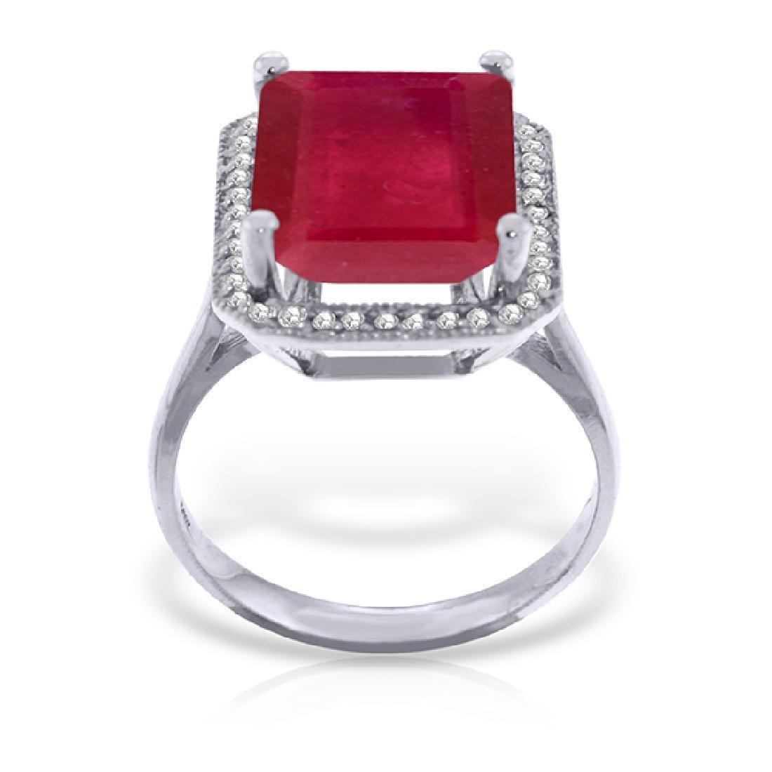 Genuine 7.45 ctw Ruby & Diamond Ring Jewelry 14KT White