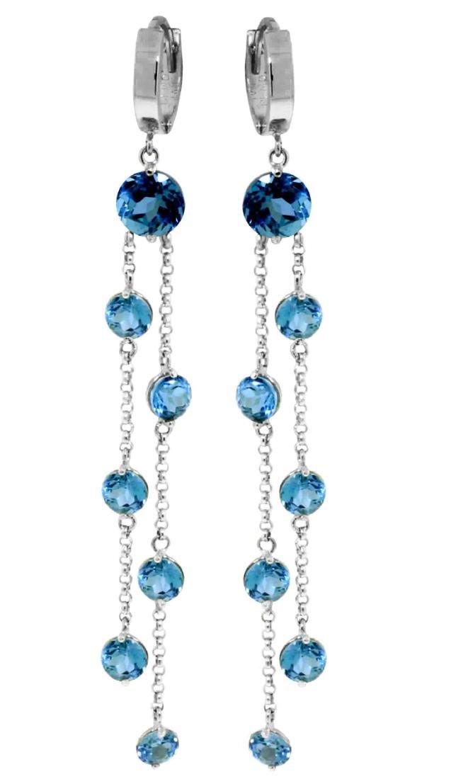 Genuine 9.02 ctw Blue Topaz Earrings Jewelry 14KT White
