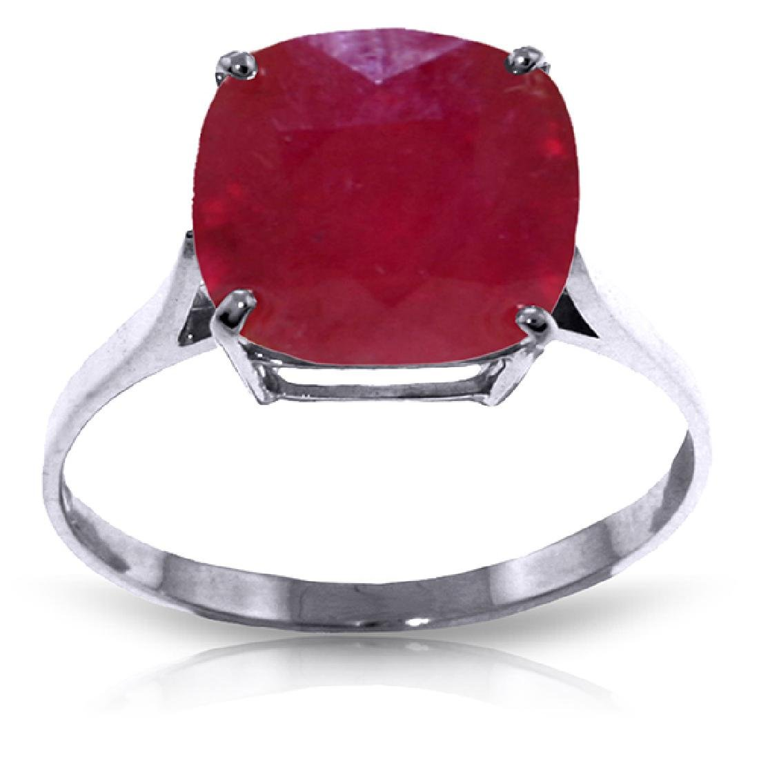 Genuine 6.75 ctw Ruby Ring Jewelry 14KT White Gold -