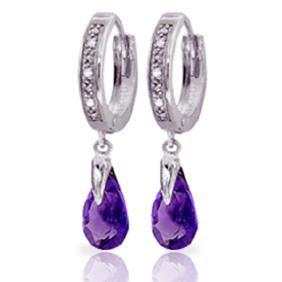 Genuine 2.53 ctw Amethyst & Diamond Earrings Jewelry